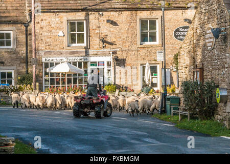A farmer on a quad bike escorts a flock of sheep through the rural village of Thwaite, Swaledale, Yorkshire Dales, UK - Stock Image