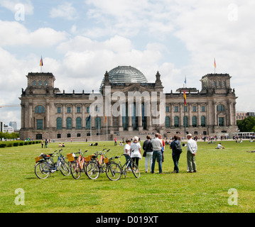 Tourists outside the Reichstag Berlin Germany - Stock Image