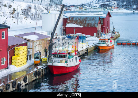 Fishing boats unloaading at Øksfjord, Finnmark County, Norway. - Stock Image