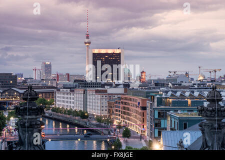 View from Reichtag cupola to Alex TV Tower, Dome, Spree, Berlin - Stock Image