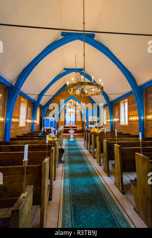 Greenland. Scoresby Sund. Ittoqqortoormiit. Lutheran church in town. - Stock Image
