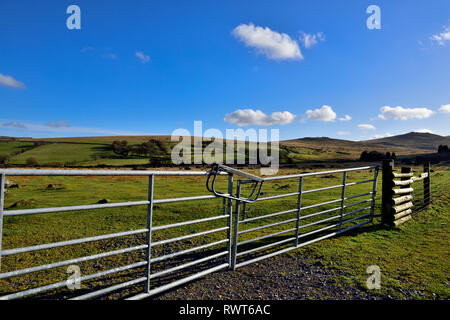 Modern metal farm gate into fields next to Dartmoor National Park with Dartmoor hills in background - Stock Image