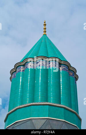 Green dome, Mevlana Muzesi, Mevlana museum, dervish museum and Rumi mausoleum, Konya, Turkey - Stock Image