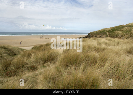 Sand Dunes and Beach at Perranporth, North Cornwall Coast, Britain, UK. - Stock Image
