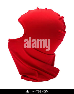 Red Ninja Mask Side View  Isolated on White Background. - Stock Image