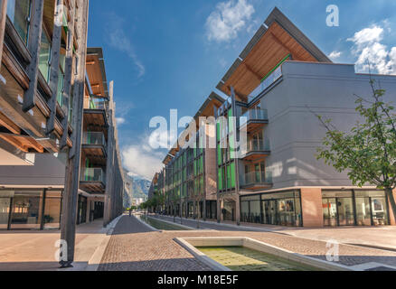 Viale della Constituzione in Le Albere, 2013, mixed-use district, location of MUSE Museo delle Scienze, planned - Stock Image