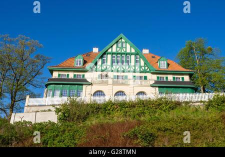 Wellness clinic Muess, restaurated, traditional Kurhaus, Muess near Schwerin, at Lake Schwerin, Germany - Stock Image