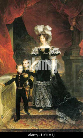 Cavalleri Painting of Queen of Piedmont with sons 1832 - Stock Image