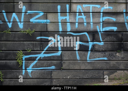 Swastikas and homophobic graffiti painted on tombs in New Calton Burial Ground, Edinburgh, Scotland, UK. June 2019. - Stock Image