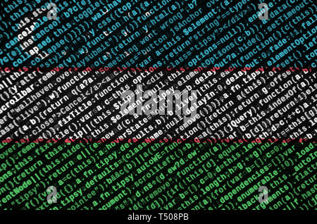 Uzbekistan flag  is depicted on the screen with the program code. The concept of modern technology and site development. - Stock Image