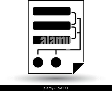 Code Map Icon. Black on White Background With Shadow. Vector Illustration. - Stock Image