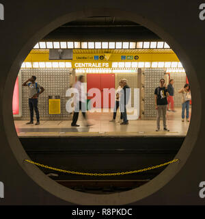 Square view of the Metro in Milan, Italy. - Stock Image