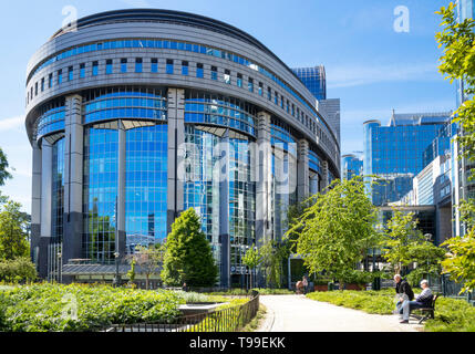 European Parliament building Brussels ,the hemicycle, Eu Parliament, Parc Leopold, Leopold park, Brussels,Belgium,Eu,Europe - Stock Image