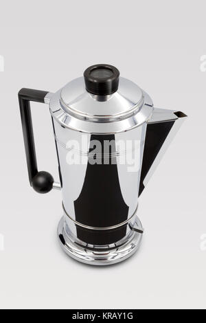 Vintage Art Deco Style 1950s Bulpitt & Son Swan Mayfair Electric Chrome Coffee Percolator with Deco style cup, - Stock Image