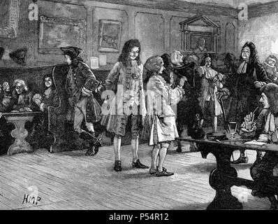 Scene in a London Coffee House during the reign of Queen Anne, from Cassell's History of England King's Edition Part 29 - Stock Image