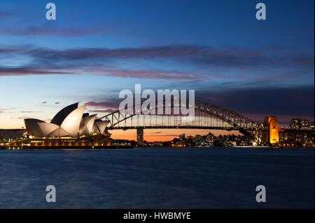Sydney Opera House and Harbour Bridge at Dusk, Sydney, Australia - Stock Image