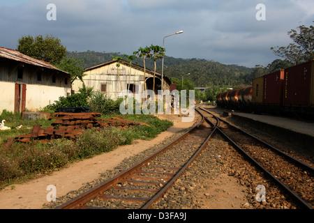 Railway Station, Andasibe Village, Toamasina Province, Madagascar, Africa. - Stock Image