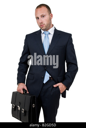 executive with leather bag on isolated background - Stock Image