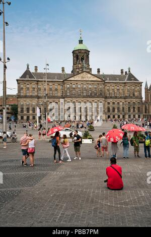 The Dam Square with the Royal Palace Amsterdam - Stock Image