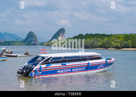 Speed boat for large groups, Maenam river, Krabi town, Thailand - Stock Image