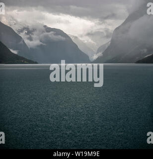View of the lake, Olden valley, Norway - Stock Image