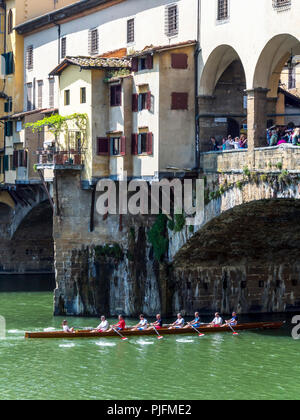 Italy, Tuscany, Florence, Ponte Vecchio with a ship - Stock Image