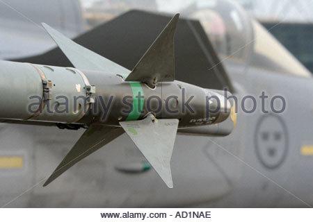 Zeltweg 2005 AirpPwer 05 airshow Austria, Saab JAS 39 Gripen AA heat-seeking missile detail with four frontal fins - Stock Image