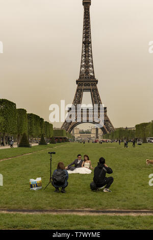 France, Paris, The Eiffel Tower, the tallest structure in Paris . - Stock Image