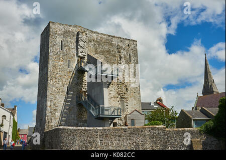 The ruins of Listowel Castle in the centre of the town, in County Kerry, Ireland - Stock Image
