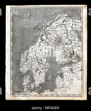1804 Arrowsmith Map - Scandinavia - Norway Sweden Denmark Finland  - Europe - Stock Image