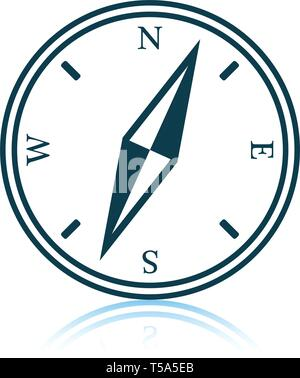 Compass icon. Shadow reflection design. Vector illustration. - Stock Image