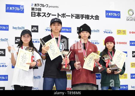 Murakami city Skate Park, Niigata, Japan. 12th May, 2019. Murakami city Skate Park, Niigata, Japan. 12th May, 2019. (L-R) Funa Nakayama, Yukito Aoki, Ayumu Hirano, Kokona Hiraki, MAY 12, 2019 - Skateboarding : The 3rd Japan Skateboarding Championship Award ceremony at Murakami city Skate Park, Niigata, Japan. Credit: MATSUO.K/AFLO SPORT/Alamy Live News - Stock Image