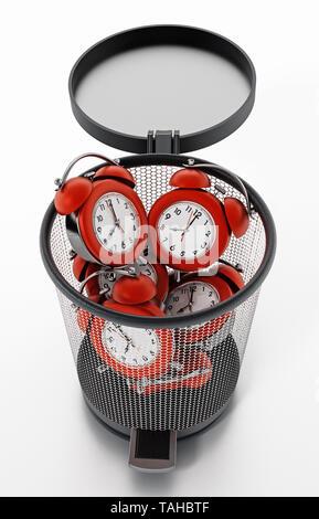 Red alarm clocks inside garbage bin isolated on white. 3D illustration. - Stock Image