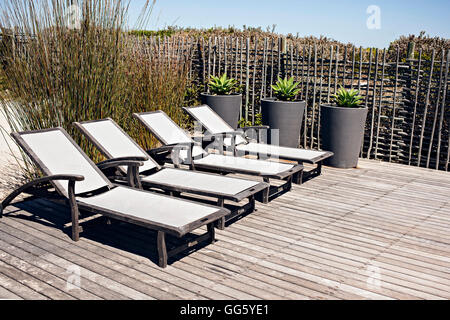 Sun loungers on deck at resort - Stock Image