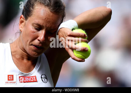 Wimbledon, UK. 11th July 2019, The All England Lawn Tennis and Croquet Club, Wimbledon, England, Wimbledon Tennis Tournament, Day 10; Barbora Zahlavova Strycova (CZE) wipes her face during her match against Serena Williams (USA) Credit: Action Plus Sports Images/Alamy Live News - Stock Image