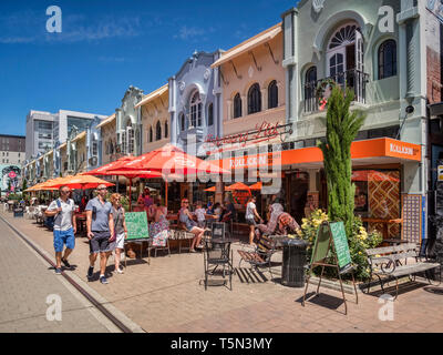 3 January 2019: Christchurch, New Zealand - New Regent Street in the centre of Christchurch, with outdoor cafes and speciality shops, and the tram rou - Stock Image