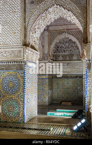 Decorated interior in Saadian Tombs in the Medina of Marrakech, Morocco - Stock Image