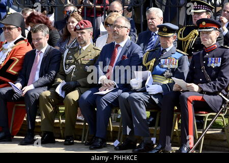 Northolt, London, UK. 1st September, 2018. From left: Consul Michał Mazurek, Acting Defence Attaché Lt Col Artur Miśkiewicz, Ambassador RP Arkady Rzegocki,  HRH Prince Edward - The Duke of Kent The Annual Commemoration of Fallen Polish Airmen will take place on Saturday, 1st September 2018 at the Polish Air Force Memorial, Northolt. Credit: Marcin Libera/Alamy Live News - Stock Image