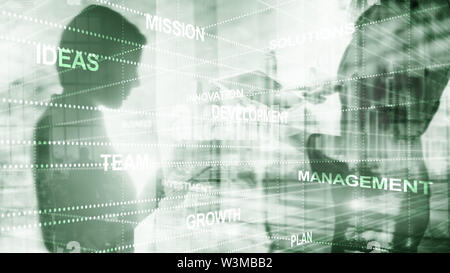 Girls silhouettes. Abstract business background double exposure mixed media. - Stock Image
