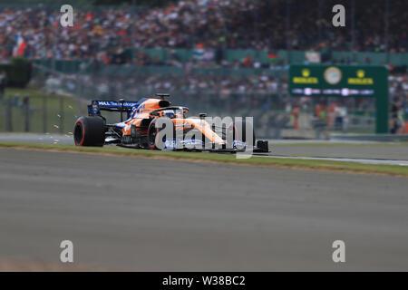 Silverstone Circuit. Northampton, UK. 13th July, 2019. FIA Formula 1 Grand Prix of Britain, Qualification Day; McLaren, Carlos Sainz Credit: Action Plus Sports/Alamy Live News - Stock Image