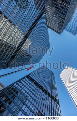 TD Centre (black) BMO (white) CIBC (upper right) bank towers in the financial district of Toronto Ontario Canada. - Stock Image