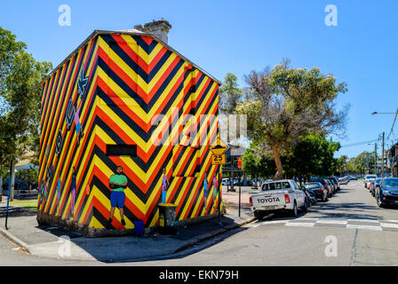 A house turned into very colourful, striking artwork: 'Welcome to Redfern' by Reko Rennie, Caroline Street, - Stock Image