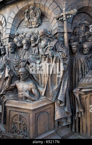 Closeup detail of Monument to Prince Vladimir The Great, Borovitskaya Square, Moscow, Russia - Stock Image