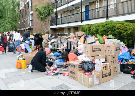 London, UK. 15th June, 2017. Volunteers sorting donations for the residents of Grenfell Tower who lost everything - Stock Image