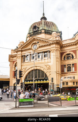 Melbourne, Australia - 21st February 2018: Entrance to Flinders Street railway station. It was opened in 1910. - Stock Image