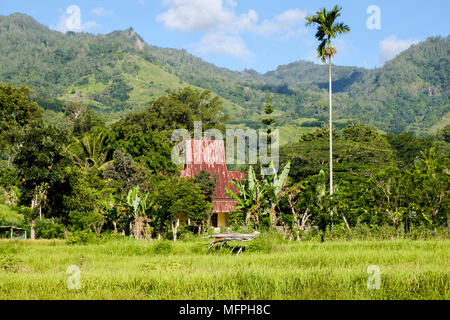 The Catholic church in the small village of Moni near Mount Kelimutu, Ende Regency, Flores Island, Indonesia. - Stock Image