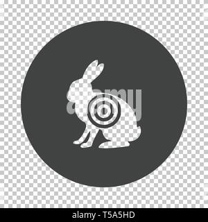 Hare silhouette with target  icon. Subtract stencil design on tranparency grid. Vector illustration. - Stock Image