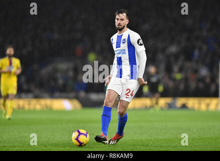 Davy Propper of Brighton during the Premier League match between Brighton & Hove Albion and Crystal Palace at the Amex Stadium . 04 December 2018 Photograph taken by Simon Dack  Editorial use only. No merchandising. For Football images FA and Premier League restrictions apply inc. no internet/mobile usage without FAPL license - for details contact Football Dataco - Stock Image
