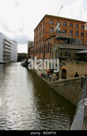 The Regents Canal at Camden Lock, Lockside Entrance to Camden Market - Stock Image