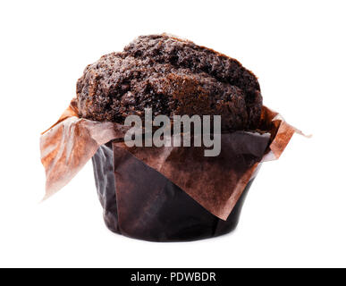 Chocolate chip muffin close-up isolated on white background - Stock Image